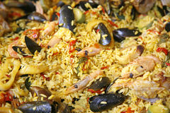 Paella fresco do marisco fotografia de stock royalty free
