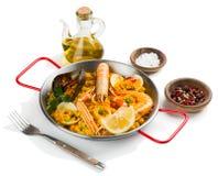 Paella gemaakte zeevruchten Royalty-vrije Stock Foto's