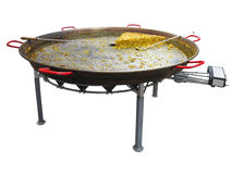Paella on giant frying pan done at the carnival isolated Royalty Free Stock Photos