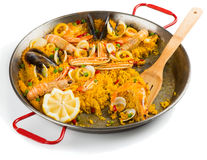 Paella, half eaten Royalty Free Stock Photos