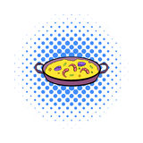 Paella icon in comics style Stock Photography