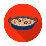 Paella icon in flat style isolated on white background. Spain country symbol stock vector illustration. Royalty Free Stock Photo