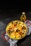 Paella a la margarita in pan with oil Royalty Free Stock Photo