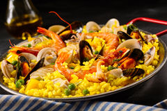 Paella a la margarita with shellfish Royalty Free Stock Photography
