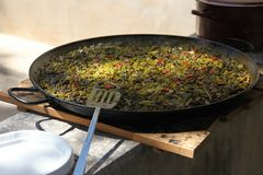 Paella in a large frying pan Royalty Free Stock Images