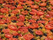 Paella med fegt kött Arkivfoto