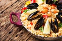 Paella med skaldjur Royaltyfri Fotografi