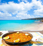 Paella mediterranean rice food in balearic islands. Paella mediterranean rice food by the Balearic Formentera island beach Royalty Free Stock Images