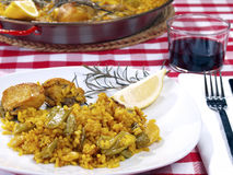 Paella Menu in a Restaurant Stock Photos