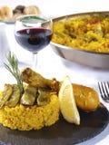 Paella Menu in a Restaurant Stock Photo