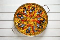 Paella met mosselen Royalty-vrije Stock Foto