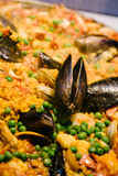 Paella with mussels and peas Royalty Free Stock Image