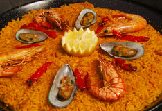 Paella with mussels and prawns Stock Photos