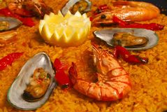 Paella with mussels and prawns Royalty Free Stock Images