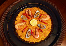 Paella with mussels and prawns Stock Photography