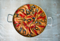 Paella in an overhead shot Royalty Free Stock Photo