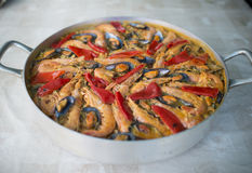 Paella in an overhead shot Royalty Free Stock Images