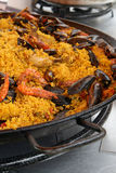 Paella on pan Royalty Free Stock Photography