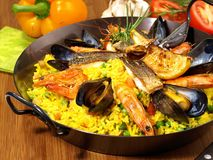 Paella in a Pan stock images