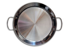 Paella pan in stainless steel on white. Background stock photo