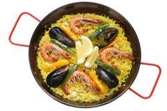 Paella, paraboloïde de riz espagnol Photos stock