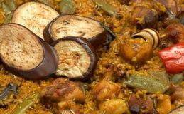 Paella/piatto spagnolo tipico con riso Fotografia Stock