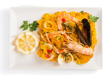 Paella on the plate, above view Royalty Free Stock Photography
