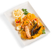 Paella on a plate. Royalty Free Stock Photos