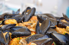 Paella pot with shell fish detail Royalty Free Stock Photos