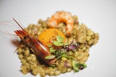 Paella with prawns and prawns. Mediterranean diet. Royalty Free Stock Photo