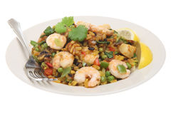 Paella with Prawns & Scallops Royalty Free Stock Photo
