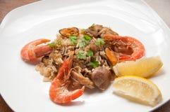 Paella ready meal with shrimp Stock Photos