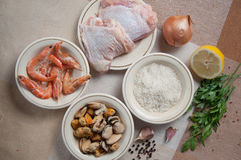 Paella ready meal with shrimp Stock Photo