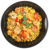 Paella Ready Meal. With shrimp, chicken and chorizo Royalty Free Stock Images
