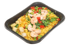 Paella Ready Meal, Tv Dinner. Tv dinner of paella with king prawns and scallops Royalty Free Stock Image
