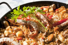 Paella rice. With prawns cooked in a barbecue fire Royalty Free Stock Photography
