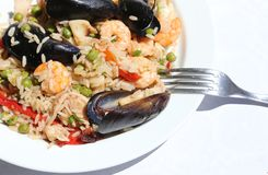 Paella rice dish with mussels, shrimp with fork Royalty Free Stock Photos