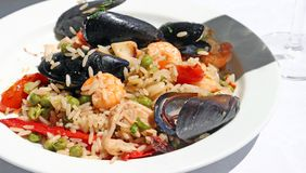 Paella rice with mussels and shrimp Stock Photography