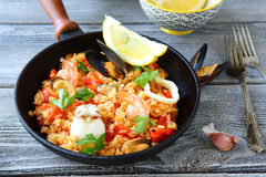 Paella with rice and seafood Stock Image