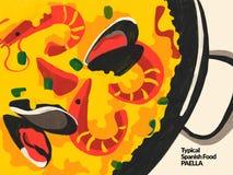 paella robić kremowy jedzenie nafcianych oliwnych omelette cebulkowych grul ryżowy spanish faszerował pomidoru typowego ilustracj ilustracja wektor