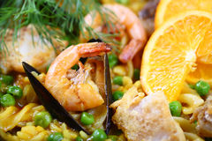 Paella scampi seafood mussels. Paella scampi mussels shrimp food fish dinner Stock Photo