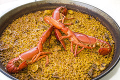 Paella. Sea animals paella, typical rice dish from valencia Royalty Free Stock Image