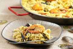 Paella with seafood Stock Images