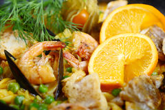 Paella seafood. Paella scampi mussels shrimp food fish dinner Stock Images