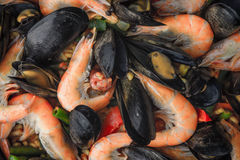 Paella with seafood background close-up Royalty Free Stock Images