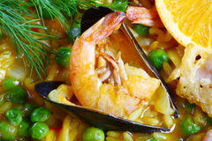 Paella seafood delicious. Paella scampi mussels shrimp food fish dinner Stock Photo