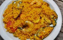 Paella seafood dish Stock Photo