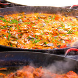 Paella. A seafood paella in London stock photo