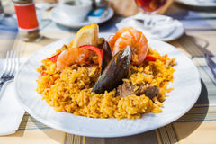 Paella with seafood and meat Stock Image