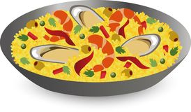 Paella with seafood: shrimps, oysters in pan. Traditional Spanish dish. royalty free illustration